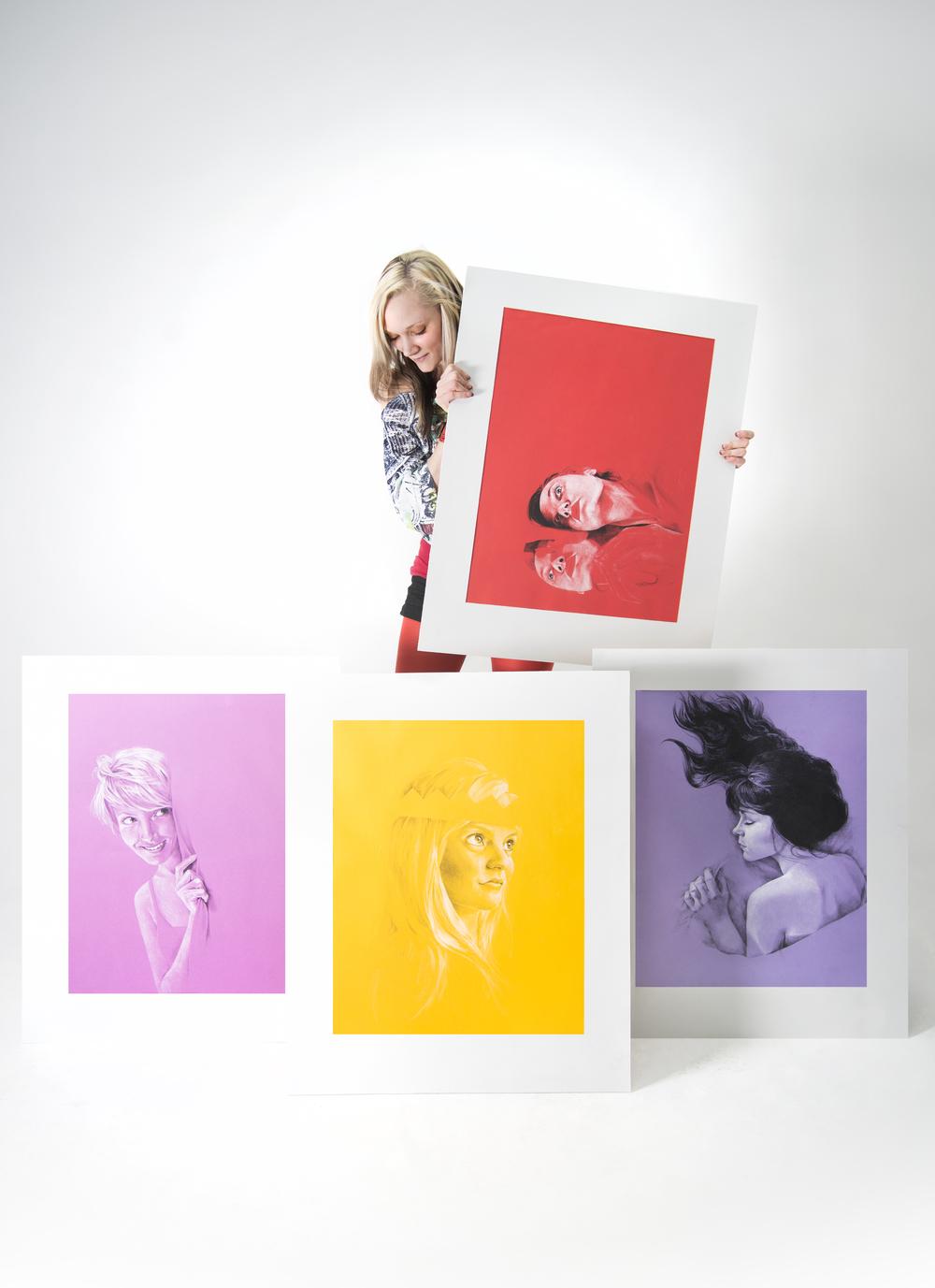 Charcoal portraits by Chavilah Bennett.  Photograph by Sara Santillan