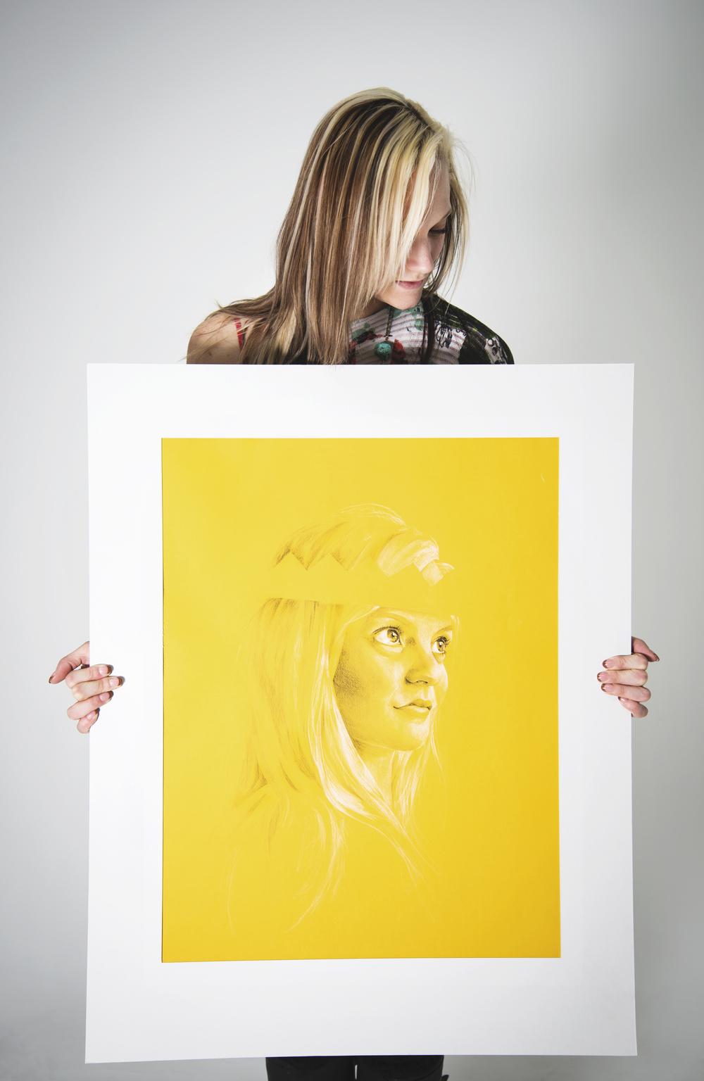 Charcoal portrait by Chavilah Bennett.     Photograph by Sara Santillan