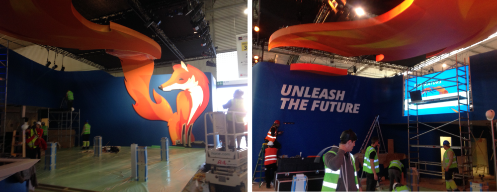 We received these photos from our satisfied client as he oversaw the exhibit construction in Barcelona, Spain.