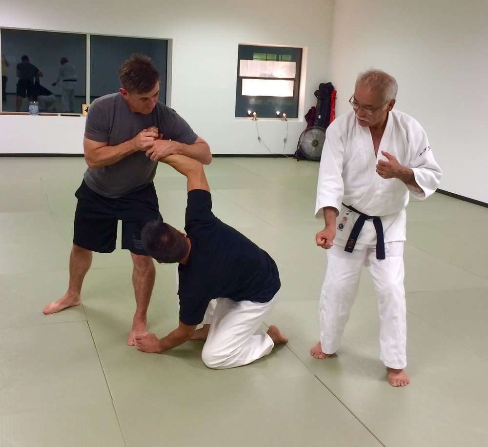 Tom Boggs and Kyle Chock practicing Ikkyo to Nikkyo, to Sankyo transitions under the watchful of of Takeguchi Sensei