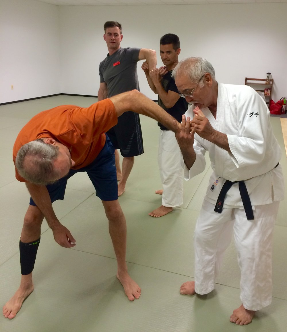Jeff Taylor receives hands on instruction on Nikyo fromTakeguchi Sensei.  Tom Boggs and Kyle Chock in background.