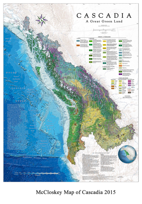 in very exciting news david mccloskeys new map of the cascadia bioregion has been chosen to grace the cover of the new 2015 map book being put out by the