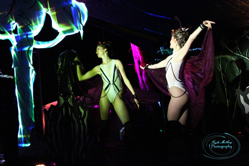 Butterfly dancers performed a ballet set at the River Stage the first night of the festival.