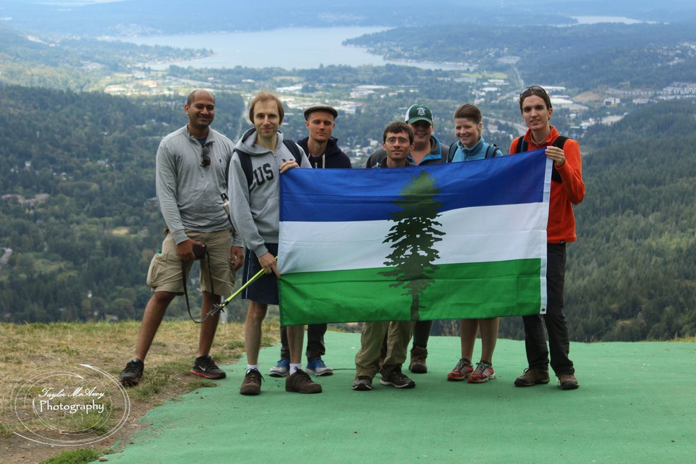 (from left to right) AAditya Juwad, Sergey Singov, AAron Perlmutter, Eric Feiveson, Emma Sparow, Caryl Bauwens, and Corey Ford joined TOTAGO and CascadiaNow! for a beautiful hike to Poo Poo Point near Issaquah, Wa.