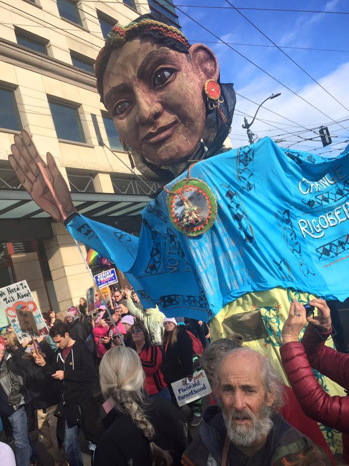 Seattle CascadiaNow! helped coordinate WXM activities by helping to create nine amazing giant puppets, each representing a powerful women around the world in the US.