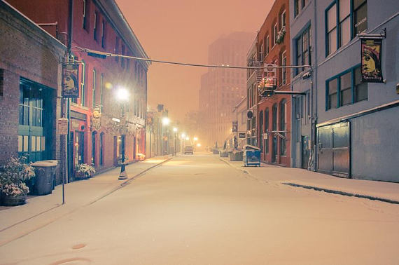 "The Game Campaign puzzle image: ""Opera Alley in Snow"" by Cascadian Photographer Peter Serko."