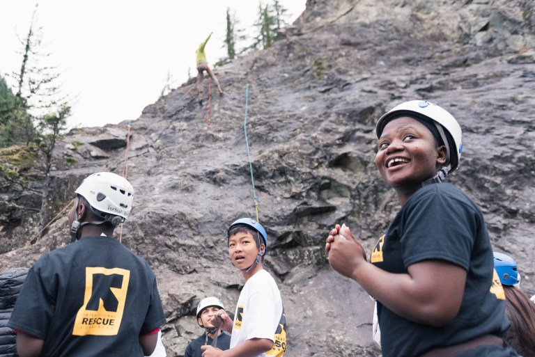 Happy, new Cascadian climbers from CascadiaNow! fiscally sponsored project  Vertical Generation 's first outdoor rock climbing trip.