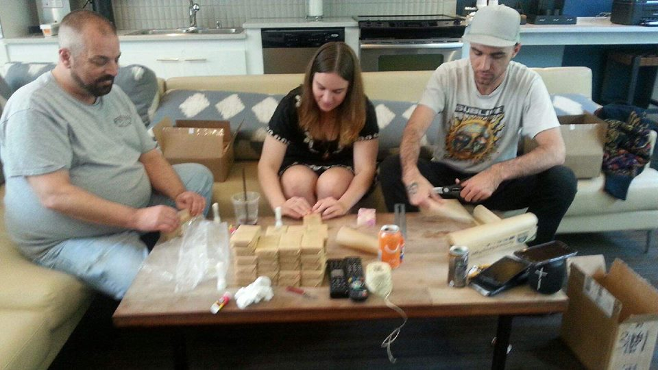 Volunteers wrapping soap for GAC's soap fundraiser!