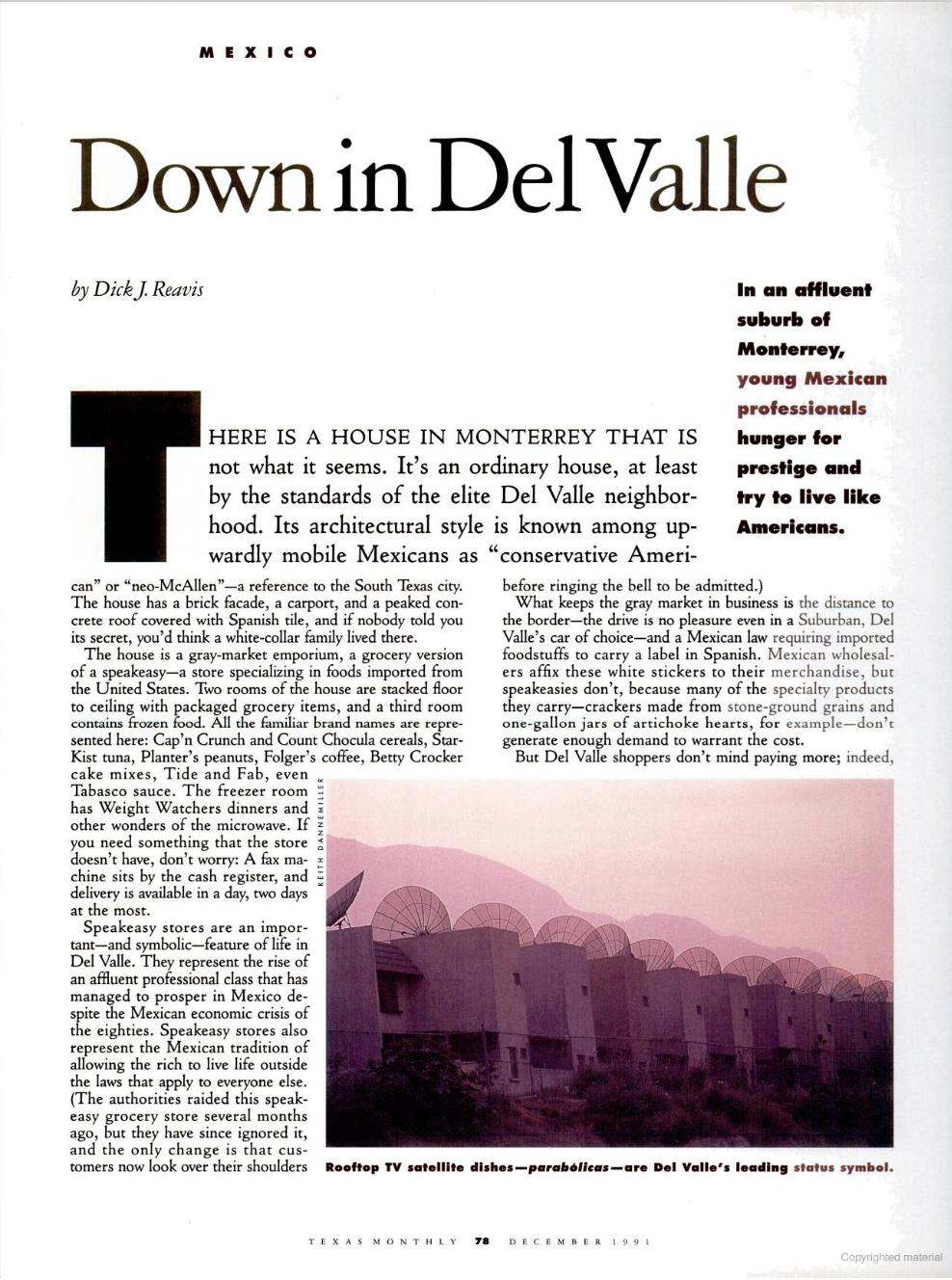 Ejemplar de la revista   Texas Monthly  en su edición diciembre 1991, disponible  aquí .