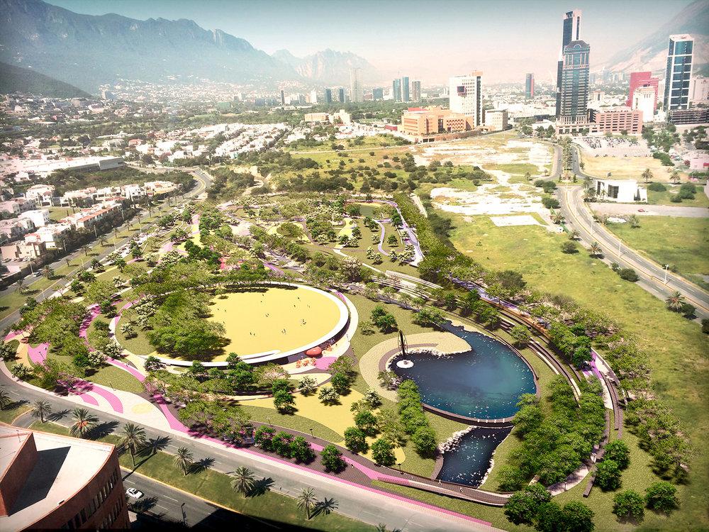 Render del proyecto de regeneración del Parque Rufino Tamayo de Harari Landscape. No se ve ningún museo de Frank Gehry por ahí.