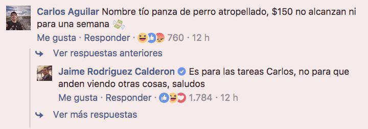 Intercambio en la página de  Facebook  de  Jaime Rodríguez Calderón ,  El Bronco , Gobernador de Nuevo León. En respuesta a la propuesta de regalar $150 mensuales a los estudiantes que no cuentan con internet en sus domicilios. | Agosto 16 del 2017.