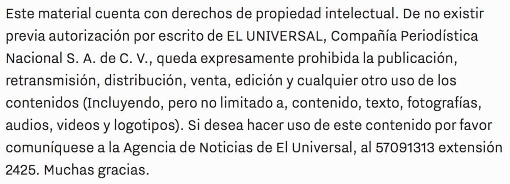 Al dar  copy + paste  a cualquier texto publicado en  El Universal , el periódico en línea más visitado en México, aparece este anticuado mensaje. Como si fuera tan delicado citar a Ricardo Alemán para mofarse de él en Twitter.