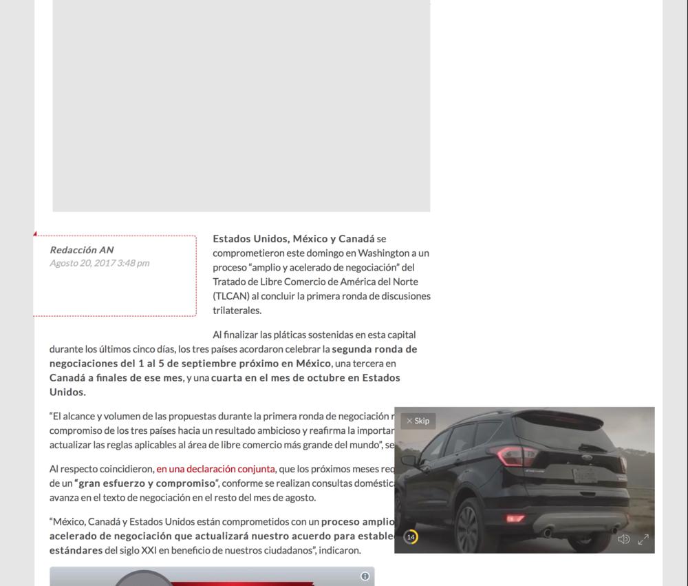 🤔 Ejemplo de estructura de nota en el sitio Aristegui Noticias. Un invasivo  video ad  acompaña la lectura.