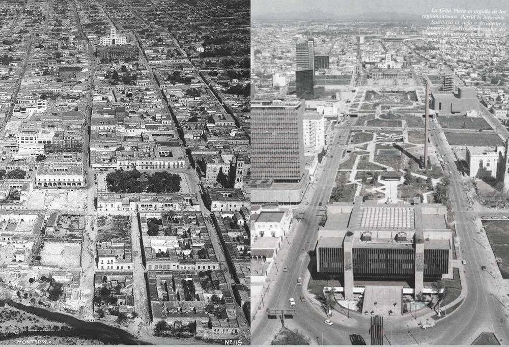 """Que no quede huella...   El antiguo centro de Monterrey vs """"La Gran Plaza"""" , la Macro."""