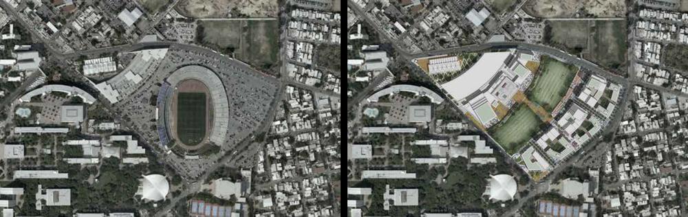 Foto aérea del Estadio Tecnológico. | Propuesta de Parque Central y otros edificios como parte del proyecto DistritoTec.