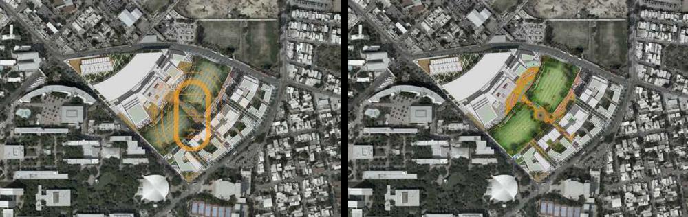 Ejercicio imaginario: la huella del Estadio Tecnológico como parte de la nueva propuesta de DistritoTec para un parque central y otras áreas público-privadas.