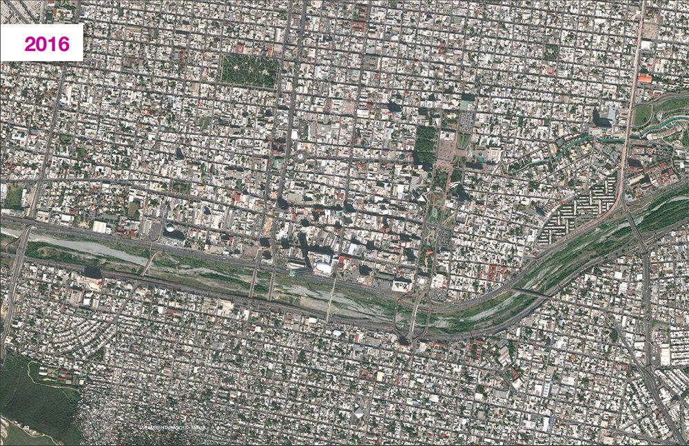 Trazo de la canalización del río Santa Catarina durante varias épocas.Fuente: Cátedra Vía Ambiental, Tecnológico de Monterrey.