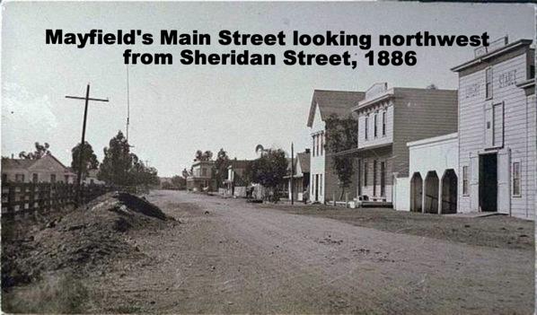 Mayfield's Main Street looking northwest from Sheridan Street, 1886