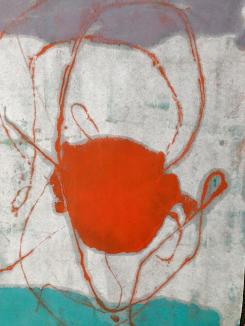 Monotype Encaustic Print by Tracy Felix. Created with Enkaustikos paints and anodized aluminum plate. 9x12""