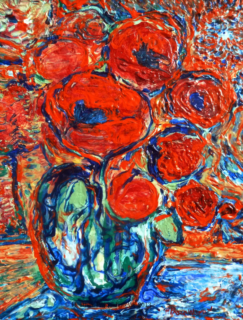 Orange Poppies on Blue / O riginal painting by Heather Pasqualino.