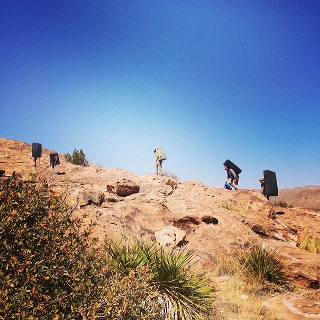 Trekking to the boulders.