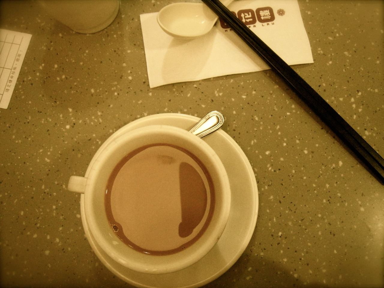 midnight milk tea, needed a walk found a cafe.  Silly how a cuppa something hot will warm the soul.