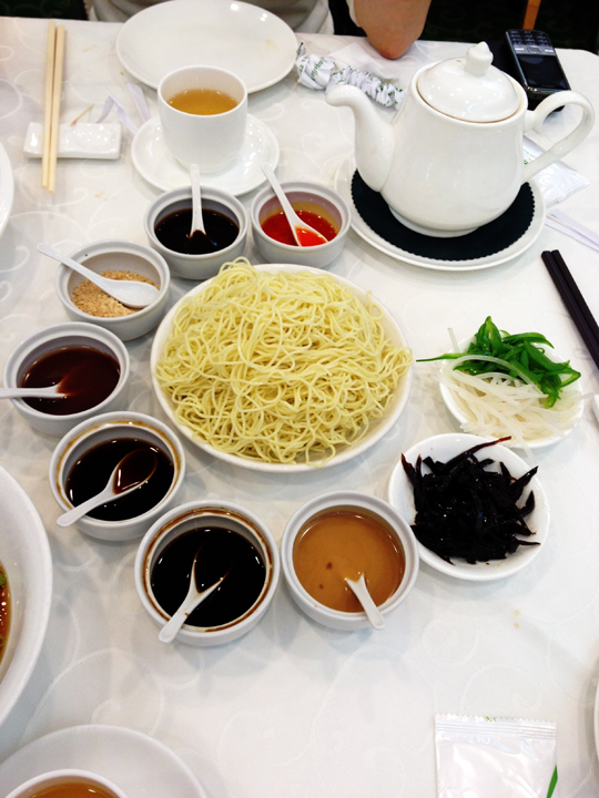 How many condiments does it take to enjoy a bowl of noodles?