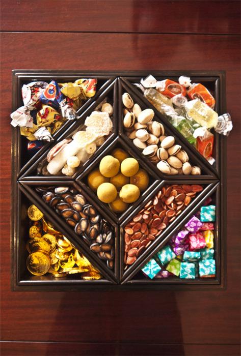 全盒 (Complete Box)    Chinese candy box is a traditional box used during Chinese new year for storing candy and other edible goods when friends and families visit.   When my uncle's families visited, the pistachio was a big hit!