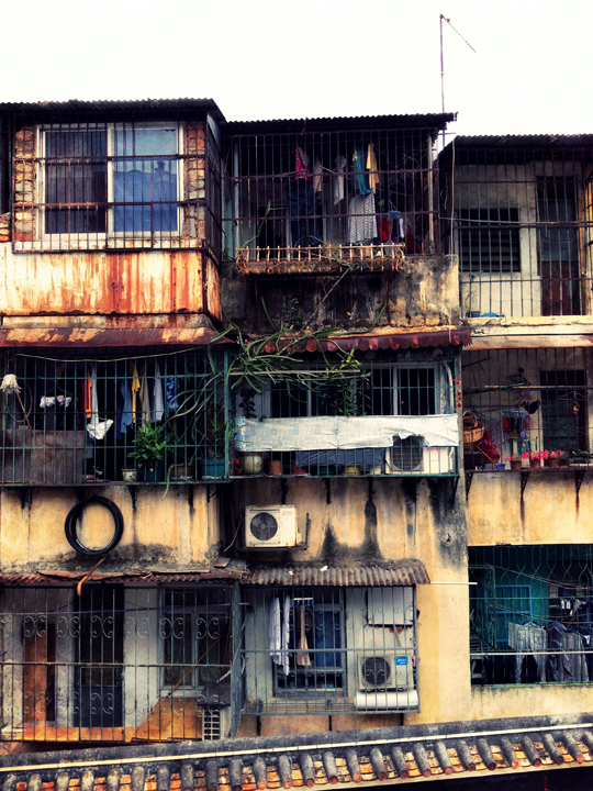 Many residential homes of Macanese are 3-4 stories high with caged windows. They almost feel like oversized bird cages.