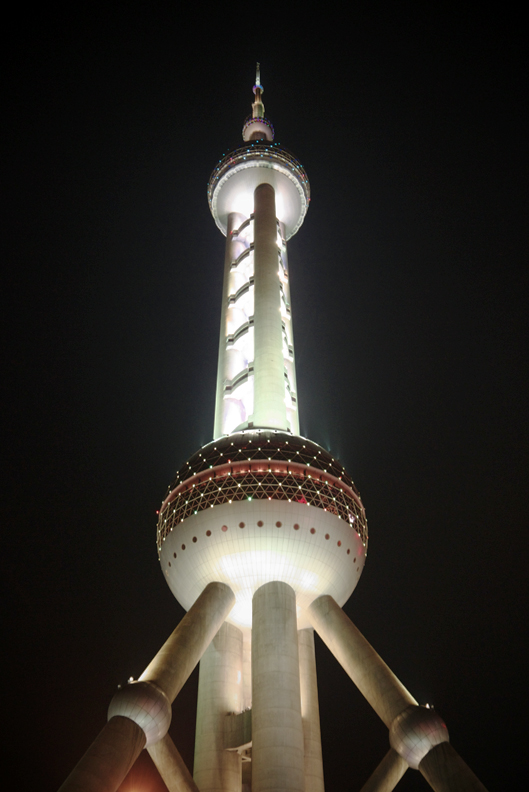 Oriental Pearl Tower  東方明珠塔     This   amazing, ultra-modern tower is a     TV and radio hub that services the Shanghai area with more than nine television channels and ten FM radio channels.