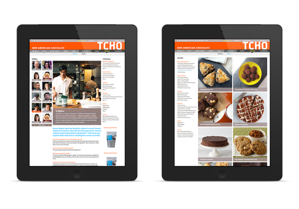 Chefs profiles and Recipes page on tablet device.