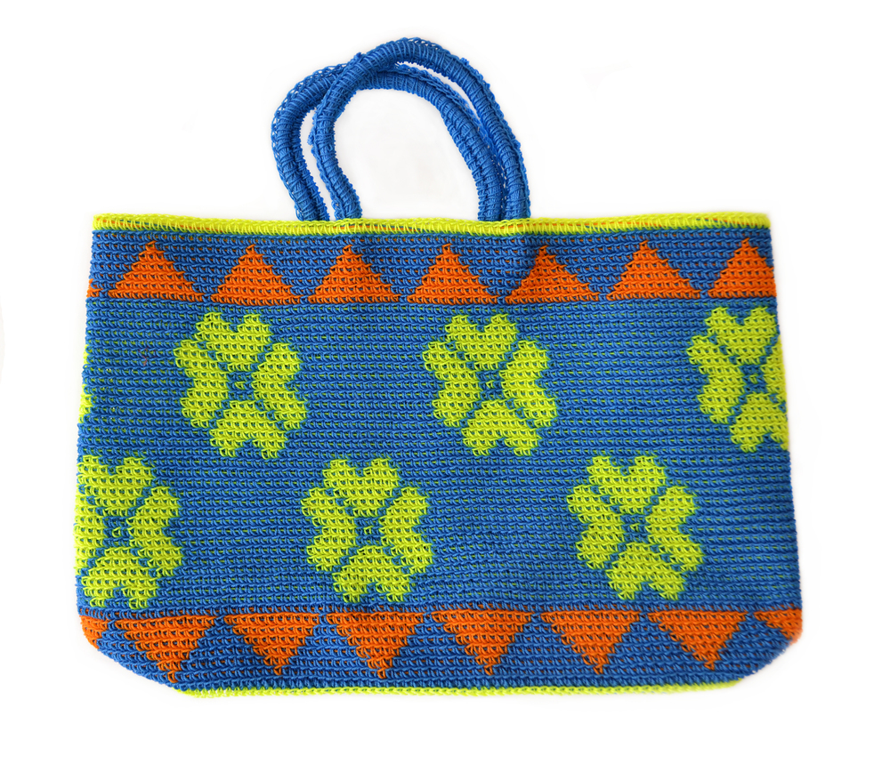 crochet tote in cobalt and lemon the market studio four nyc
