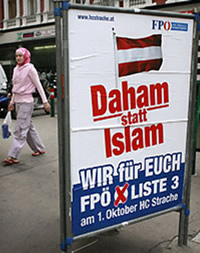 "A 2006 FPO campaign poster reads ""Home instead of Islam"""
