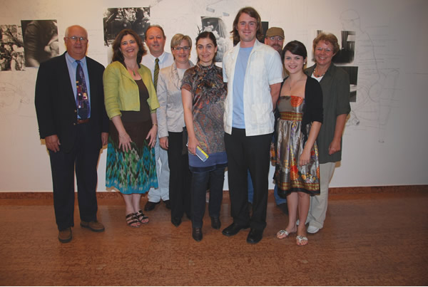In this picture( from left): Robert L. Dupont, Alea Morelock-Cot (both University of New Orleans), Horst Burmann (City of Innsbruck), Birgit Neu, Councilwoman Patrizia Moser, Jeff Rinehart (Artist) ,Wolfgang Falch (UNO Summer School), Natalie Sciortino (Artist), Councilwoman Herlinde Keuschnigg.