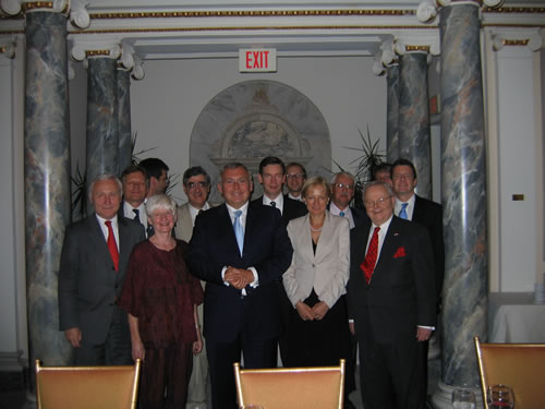 Board members of the Botstiber Institute of Austrian American Studies with former Austrian Federal Chancellor Dr. Alfred Gusenbauer (center) and AustrianAmbassador to the United States, Dr. Christian Prosl (left)