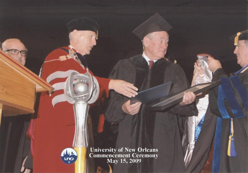 Chancellor Timothy Ryan (left) transfers degree.
