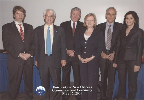 left to right: Andreas Somogyi (Austrian Embassy), Guenter Bischof (Center Austria), Hannes Androsch, Renate Platzer (Androsch International Consulting), Professor emeritus Schneider (Technical University of Vienna and Dr. Androsch's brother in law), Ingrid Sauer.