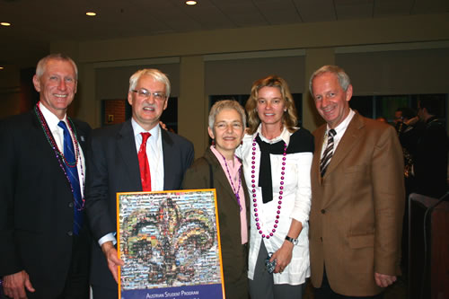 From left: Chancellor Timothy Ryan, Professor Guenter Bischof, ASP Coordinator Ellen Palli, Center Austria's Gertraud Griessner, and Professor Franz Mathis.