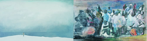 fig. left: Albin Schutting, Friedrich Orter at the sea II, oil/pencil on canvas, 90 x 160 cm, 2009; fig. right: Elisabeth Schutting, Meduse, mixed media on hand made paper on canvas, 90 x 160 cm, 2009