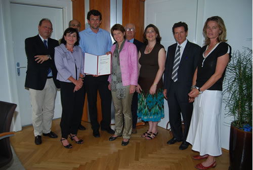 From left: Horst Burman, City of Innsbruck Cultural Department; Beate Palfreder, Tyrolean State Government; Klaus Frantz, University of Innsbruck; Manfred Kohler, Nick Mueller Fellow; Christine Oppitz-Plörer, City of Innsbruck; Bobby Dupont, University of New Orleans, Alea Cot, University of New Orleans, Karl-Heinz Töchterle, Chancellor, University of Innsbruck; and Center Austria's Gertraud Griessner.