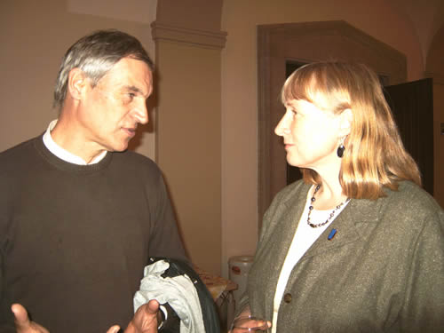 Walter Freytag with UNO Prof. Denise Reed, Transatlantic Lecturer