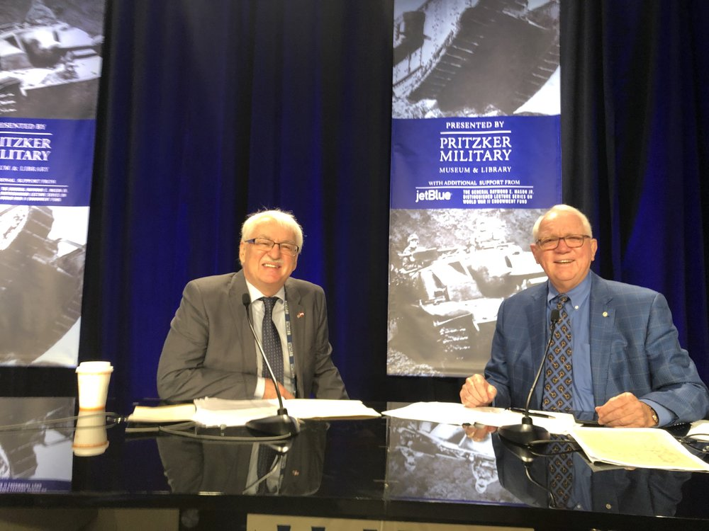 """Two Center Austria directors - Guenter Bischof (current, left)) and Gordon """"Nick"""" Mueller (founder) at the International Conference on World War II."""
