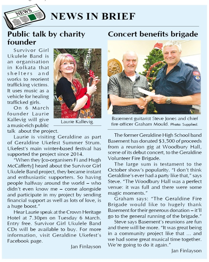 survivor girl ukulele band project made the front page of the 23 february 2018 geraldine news!! wowowow!!