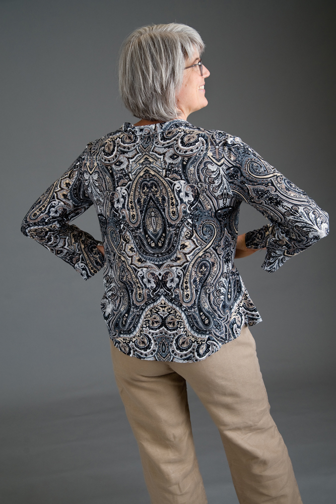 Back of the silk shirt. Andrea Jones Photo.