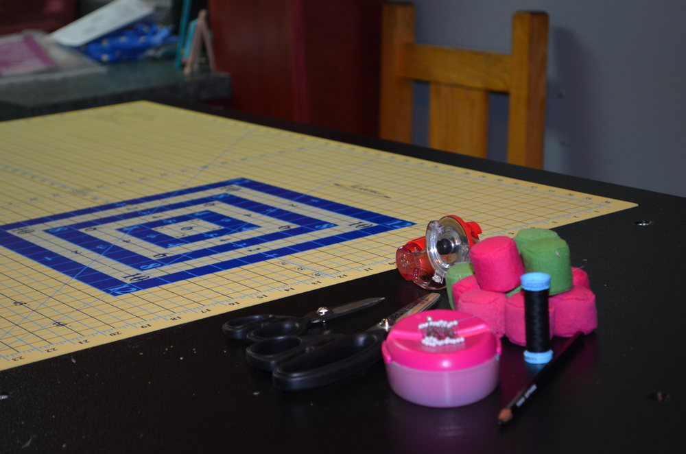 An artistic tableau on my cutting table at home.