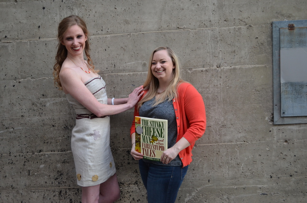 Designer Christine chose the book The Stinky Cheese Man as inspiration. She made a linen dress with a belt of
