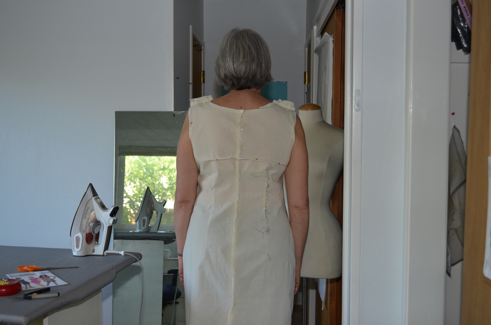 Back of the sheath dress with pooling pinched out.