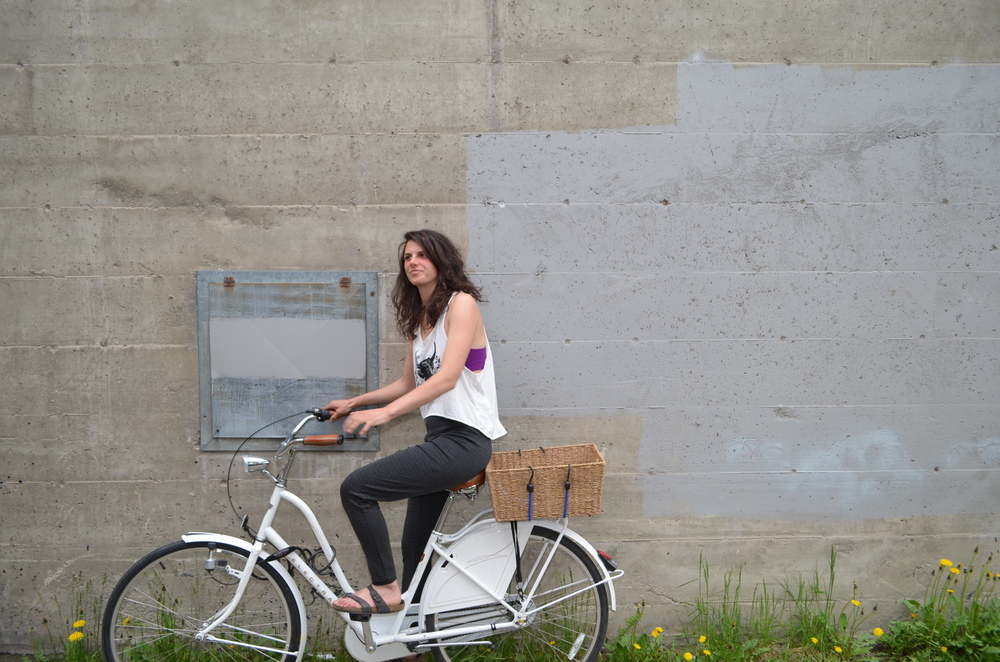 This young woman rides her bike everywhere--even when she's not being a model!