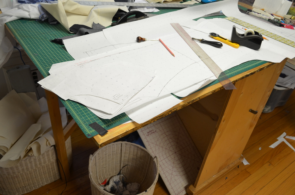 Making changes to the paper pattern based on the muslin.
