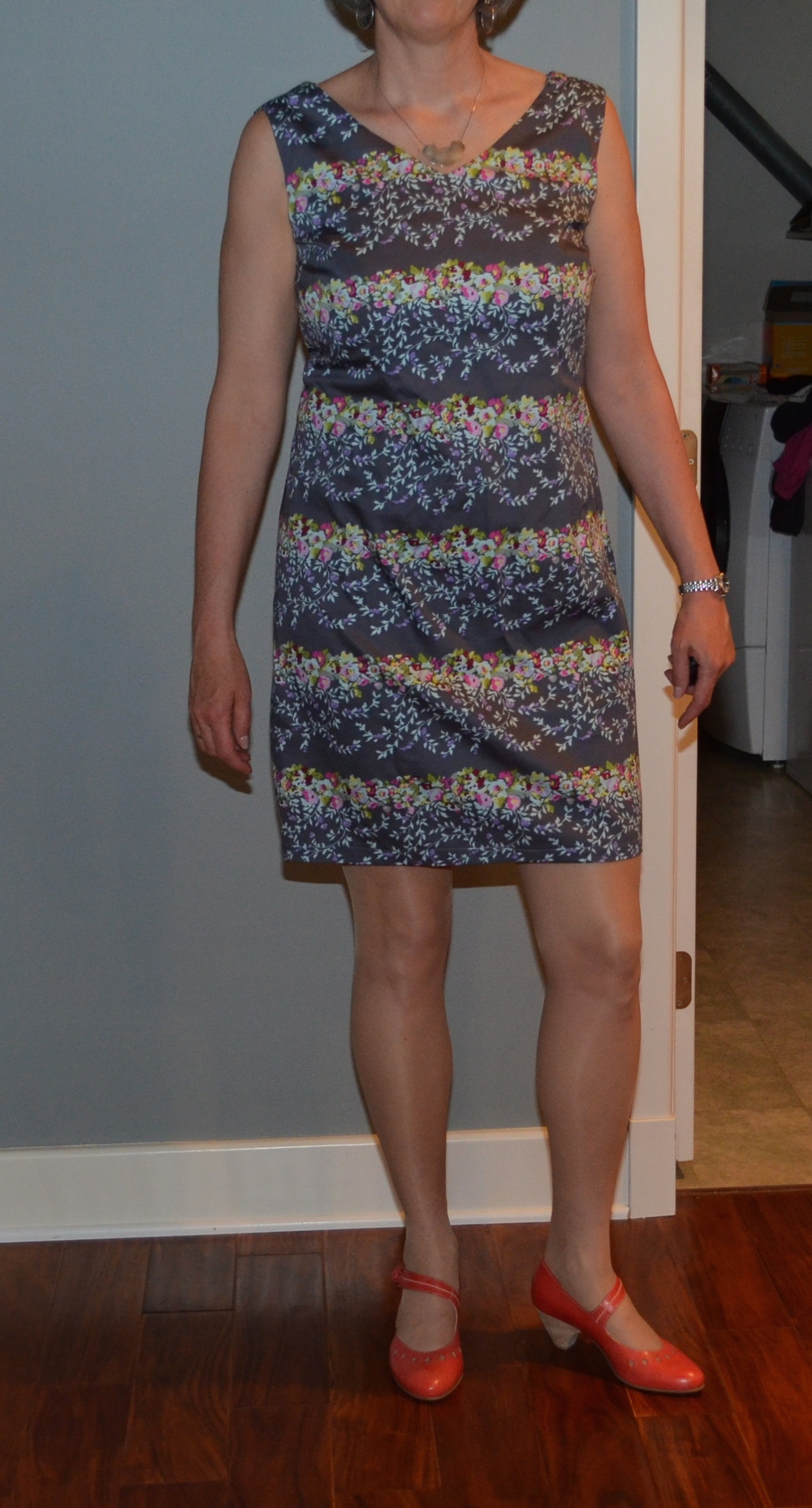 Gray Butterick dress with new coral shoes and no head?